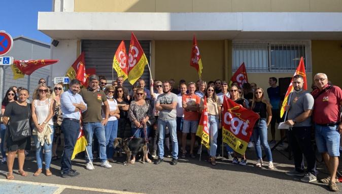 La CGT manifestait devant le centre de trie de Furiani pour protester contre le schéma directeur industriel.