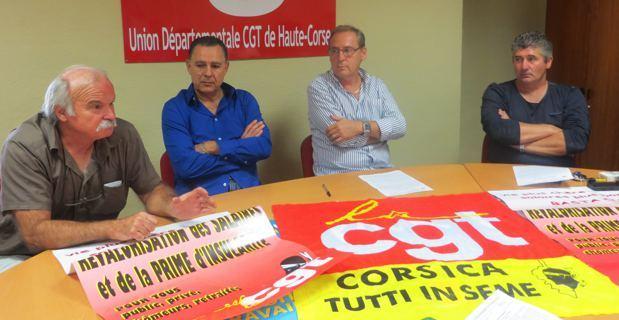 Jean-Claude Graziani, secrétaire régional, Antoine Mandrichi, secrétaire général de la CGT Energie Corse, Jean Pierre Battestini, secrétaire départemental CGT-Haute-Corse.