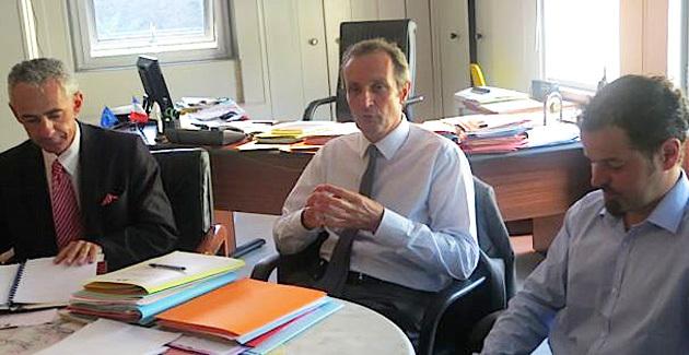 Philippe Livet, directeur adjoint délégué à la mer et au littoral (DDTM), Alain Rousseau, préfet de Haute-Corse, et Yann Balouin, chargé de mission du BRGM en région Méditerranée.