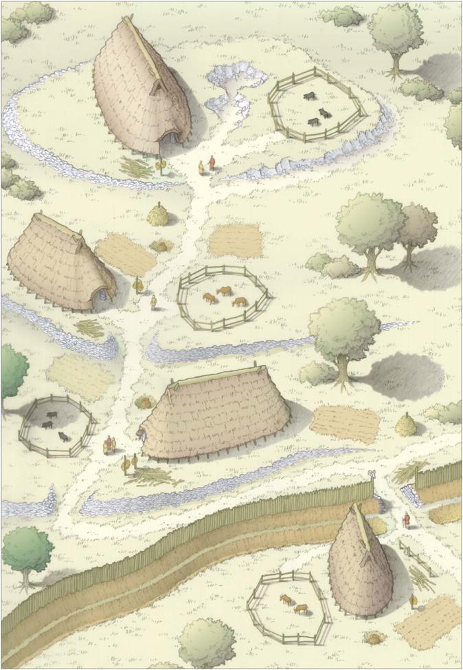Reconstitution hypothétique de la partie du village mis au jour au cours de l'opération archéologique. Crédits Photo : C. Gaston, Inrap.
