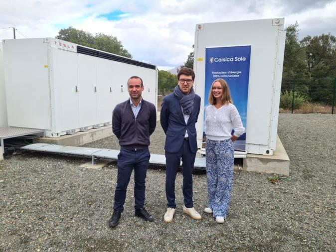 L'entreprise Corsica Sole a inauguré sa nouvelle centrale de stockage dans le Centre-Corse ce vendredi 8 octobre. Crédits Photo : Pierre-Manuel Pescetti