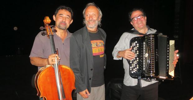 Le violoncelliste Paul-Antoine de Rocca-Serra, Raoul Locatelli et l'accordéoniste Richard Galliano.