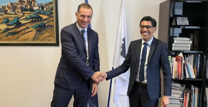Younous Omarjee, député européen LFI et Président de la Commission du développement régional au Parlement européen, avec le président du Conseil exécutif de la Collectivité de Corse, Gilles Simeoni, lors de sa visite en Corse. Photo CNI.