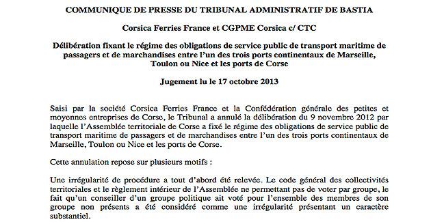 Transports maritimes : Le TA de Bastia annule les obligations de service public
