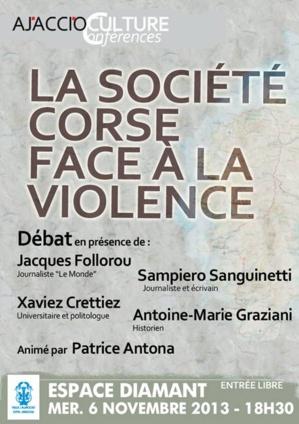 """Ajaccio : """"La société corse face à la violence"""" à l'Espace Diamant"""