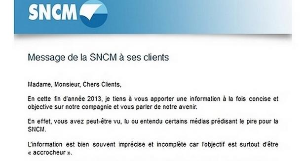 La lettre du directeur commercial de la SNCM Pierre Marcy a été adressée par mail aux clients. (Doc : DR)