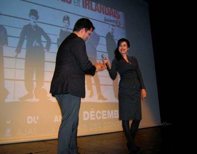 L'actrice Véronique Volta, présidente du jury avec Miceal O'Griafa, lors de l'ouverture du festival samedi. (Photo : Yannis-Christophe Garcia)