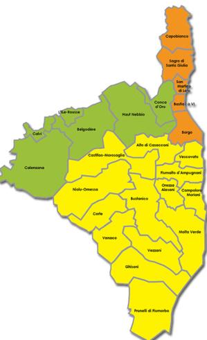 La carte des cantons de Haute-Corse : Elle va être rapidement bouleversée
