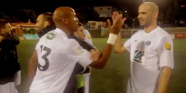 Thierry Encelade et Lionel Sauli (buteur) au tour précédent face à Villefranche (Maghjina : www.telepaese.tv)