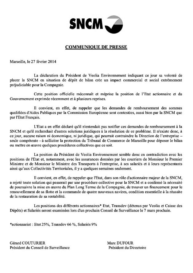 La SNCM fustige la mise sous protection préconisée par Veolia