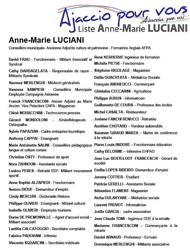 """Municipales : """"Ajaccio pour vous"""", la liste de Anne-Marie Luciani"""