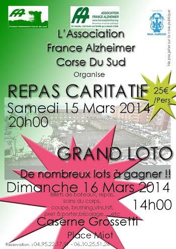 Un weekend caritatif pour l'association France Alzheimer Corse du sud les 15 et 16 mars prochain