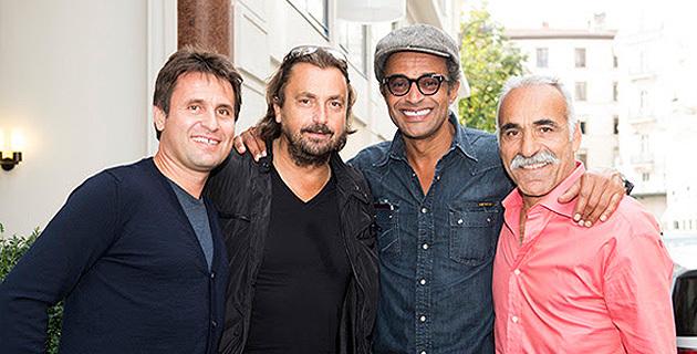 Fabrice Santoro, Henri Leconte, Yannick Noah et Mansour Bahrami réunis lors de l'étape lyonnaise en septembre 2013. © Guillaume Perret
