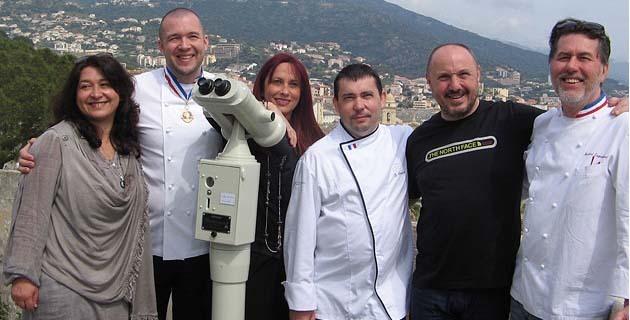 De gauche à droite : Andrée Antoni, Guillaume Gomez, Véronique Calendini, Christian Segui, Jean-Michel Oberti et le chef Martial