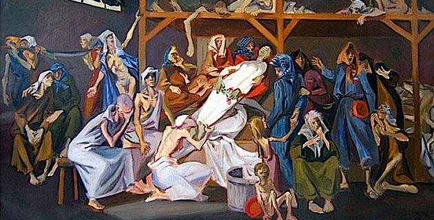 Huile sur toile de Boris Taslitzky, La mort de Danielle Casanova, 1950