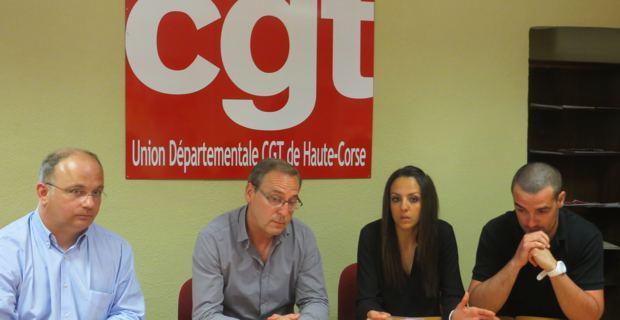 Philippe Fournil, Secrétaire national CGT-Société générale, Jean-Pierre Battestini, secrétaire départemental de la CGT, Sofia Naji et son mari Yohan Vauzelle, employés à la Société générale.