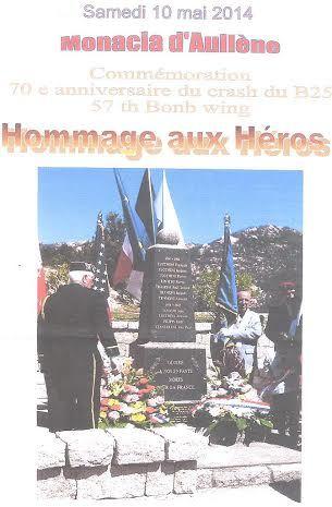 Commémoration du 70ème anniversaire du crash du B25 à Monacia d'Aullène