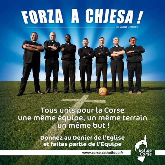 """L'affiche officielle de la campagne 2014 pour le Denier de l'Eglise de Corse : """"Forza A Chjesa !"""" (Doc : DR)"""