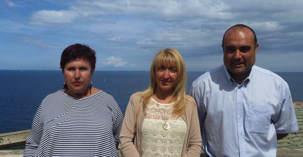 Laura Canale, directrice des affaires européennes et internationales de la Ligurie, Emmanuelle de Gentili, conseillère exécutive en charge des affaires européennes, et Stéphane Claisse, directeur adjoint du Pôle mer Méditerranée.