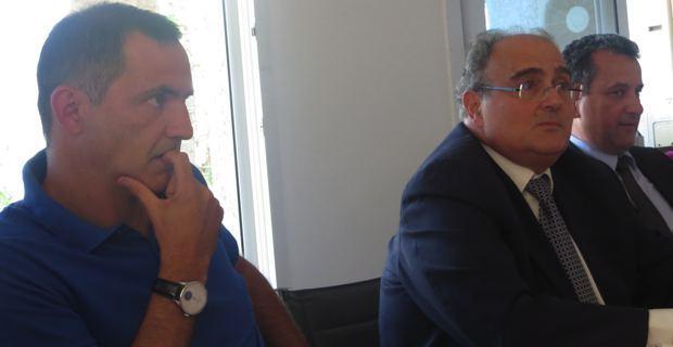 Gilles Simeoni, maire de Bastia, Paul Giacobbi, président de la CTC, et François Tatti, président de la CAB.