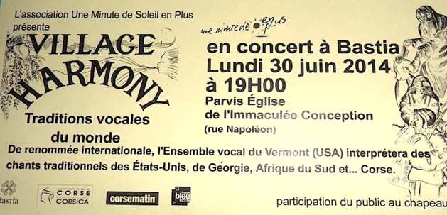 "Bastia : Concert de ""Village Harmony,"" le lundi 30 juin"