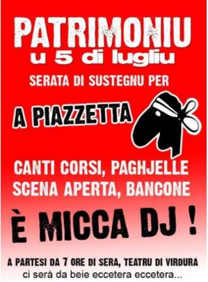 Serata di sustegnu per a Piazzetta in Patrimoniu
