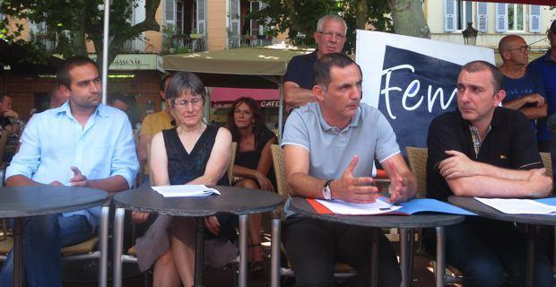 Jean-Baptiste Arena, maire adjoint de Patrimoniu, Agnès Simonpietri, élue territoriale, les deux leaders de Femu a Corsica, élus territoriaux, Gilles Simeoni, également maire de Bastia, et Jean-Christophe Angelini, également conseiller général de Porto-Vecchio.