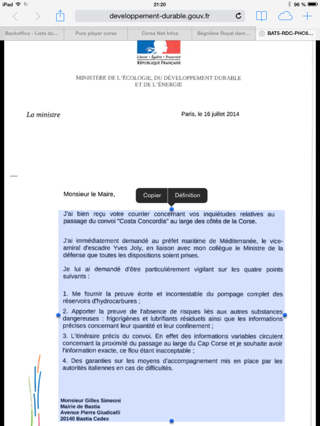 """Concordia"" : L'appel de Gilles Simeoni entendu, Ségolène Royal demande des garanties à l'Italie"