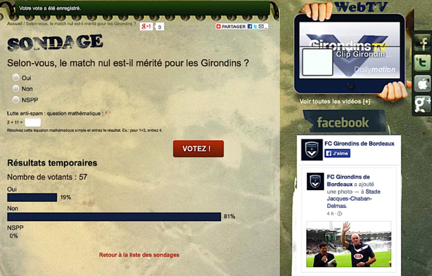 Bordeaux-Sporting (Suite) : Un sondage éloquent