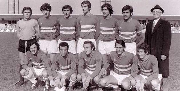 Louis Caselli debout à gauche. On reconnait également Riu, Graziani, Baccarelli, Ghisoni, Gandolfi et le président du Sporting Victor Lorenzi. Accroupis de gauche à droite : Marinetti, Camadini, Valery, Viaccara et Juillard.