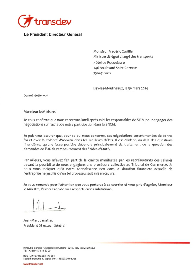 """CFE-CGC de la SNCM :""""Les comptes 2013 du groupe TRANSDEV sont enfin accessibles..."""""""