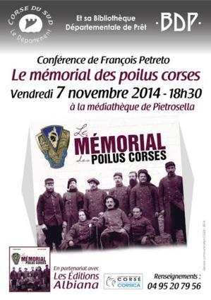 """""""Le mémorial des Poilus corses"""" : Conférence à la médiathèque de Pietrosella"""