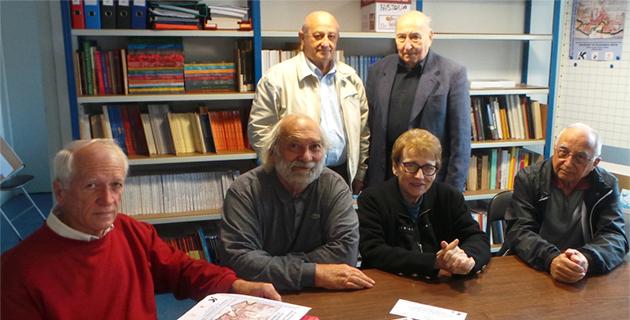 Les membres de la Société des Sciences avec, à gauche sur la photo, Joseph Puccini, leur président