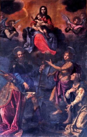 Le tableau monumental de Giovanni BILIVERT (1585-1644) représentant saint Roch, saint Sébastien, saint Martin de Tours et sainte Catherine d'Alexandrie aux pieds de la Vierge à l'Enfant. Huile sur toile (400 x 234 cm). Eglise Saint Roch, rue Napoléon.