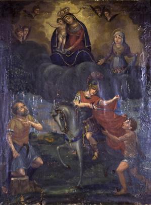 Le tableautin d'autel des vignerons de Terravecchia : La charité de Saint Martin, entouré de Sainte Zita de Lucques, patronne des jardiniers, et de Saint Isidore de Madrid, le laboureur. Peint par Anton Santo Benigni (1787-1863). Sacristie de l'église Saint Roch.