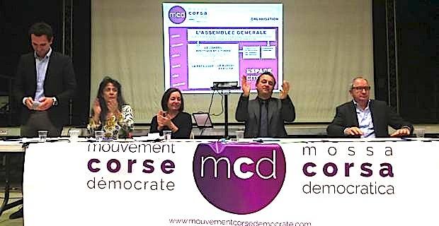 François Tatti, entouré du bureau provisoire du MCD : Marie-Claire Poggi, Françoise Vespérini et Jean-Marc Venturi, ainsi que du conseiller municipal, Julien Morganti.