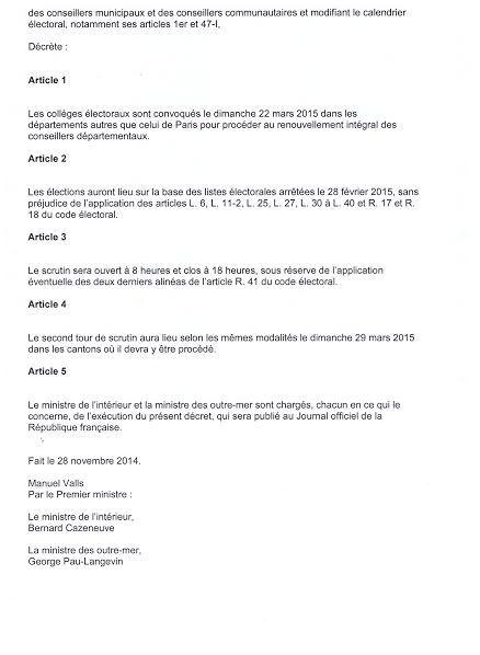 Elections cantonales : Le 22 Mars 2015
