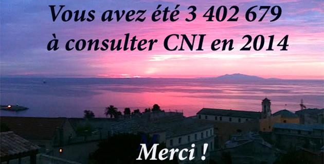 Vous avez été 3 402 679 à consulter Corse Net Infos en 2014 !