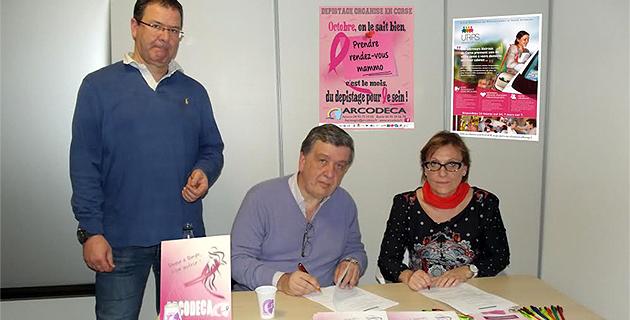 Le docteur D.Mezzadri (directeur de l'Arcodeca), le docteur J. Orabona (président de l'Arcodeca), et N. Sanchez (présidente de l'URPS Infirmier-Corse)