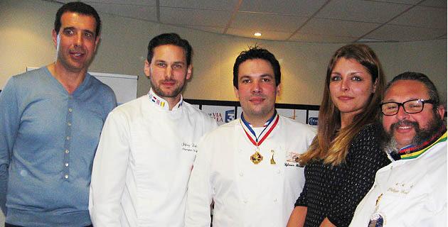 Paul Pierinelli, sa collaboratrice Marianne Tomi et les membres du jury lors de la finale de Haute-Corse remportée par Yvon Péron