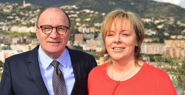 Michel Rossi, maire de Ville-di-Pietrabugno, et Vannina Le Bomin, militante d'Inseme per a Corsica, candidats dans le canton de Bastia I lors des élections départementales du 22 au 29 mars prochains.