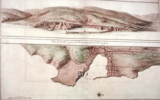 Plan de Bastia dessiné pour Louis XIV, on aperçoit un terrain vague où se trouve actuellement la place Saint Nicolas