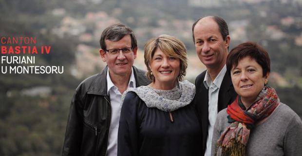 Les candidats de la majorité municipale bastiaise dans le canton de Bastia IV : Dr Antoine Mattei, Elisabeth Poggi-Fratacci, Pierre Pieri et Pascale Antonetti.