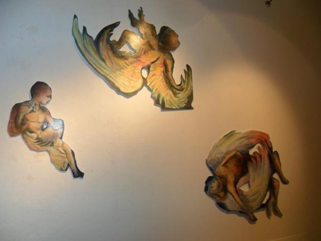 Oeuvre de Jean Monestié, peinture sur papier et contre-plaqué