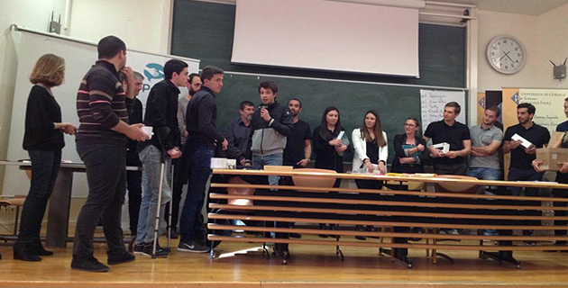 Les participants, pour la remise des prix dans l'amphithéâtre Ettori