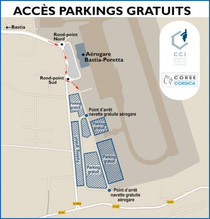 Les parkings gratuits à Poretta pour samedi