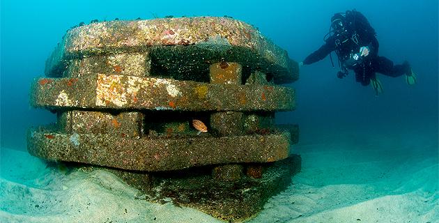 Des récifs artificiels innovants recréant les conditions d'un habitat naturel, pour accueillir les espèces locales. (©Mathieu Foulquié - SEANEO)