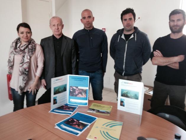 Les résultats ont été présentés lors d'un point presse qui s'est déroulé dans les locaux de la CCSV (de gauche à droite : Anne Labertrandie et Jean Pajanacci (vice-présidente et président de la CCSV), Nicolas Dalias, Eric Fabre et Mathieu Foulquié (entreprise SEANEO).