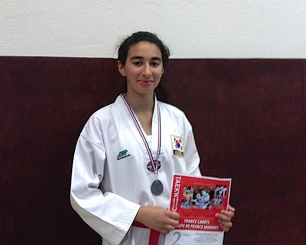 Shayma El Korchi, (Dragon Bleu Bastia-Calvi) vice-championne de France minimes de Taekwondo