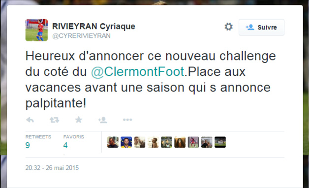 C. Rivieyran (GFCA) signe à Clermont Foot (L2)